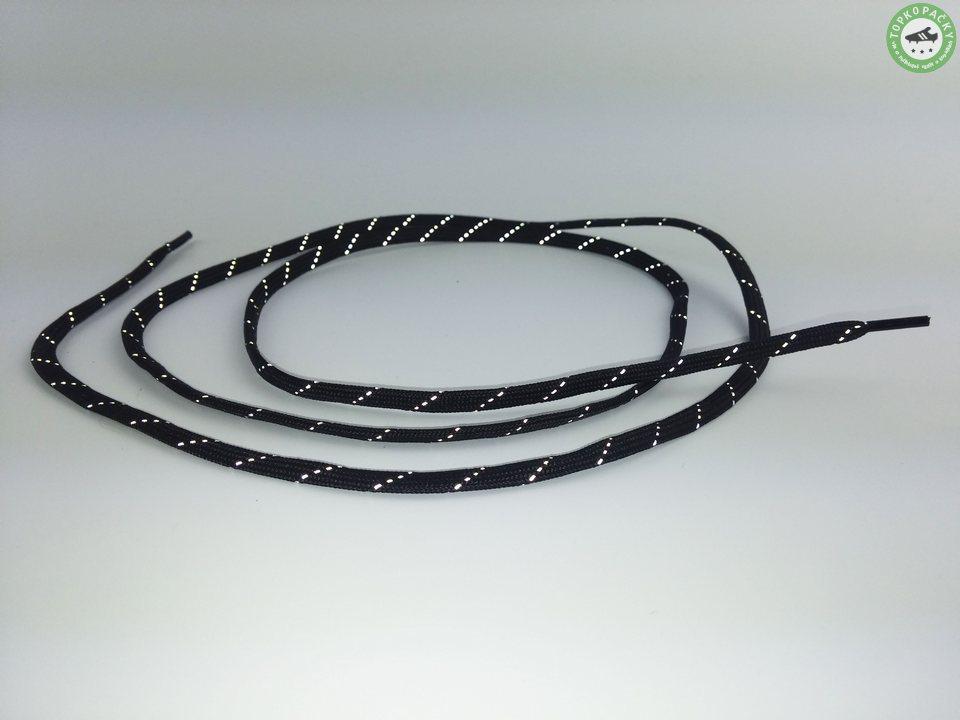 Tkaničky do kopaček černé s reflexním páskem
