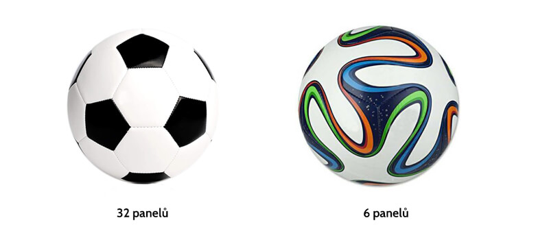 obrázek – srovnání fotbalového míče s 32 a 6 panely