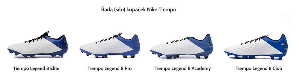 Řada (silo) kopaček Nike Tiempo