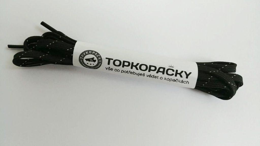 tkaničky do kopaček černé s reflexní páskou